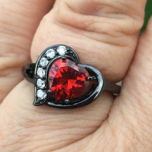 Ruby & white zircon heart black gold ring